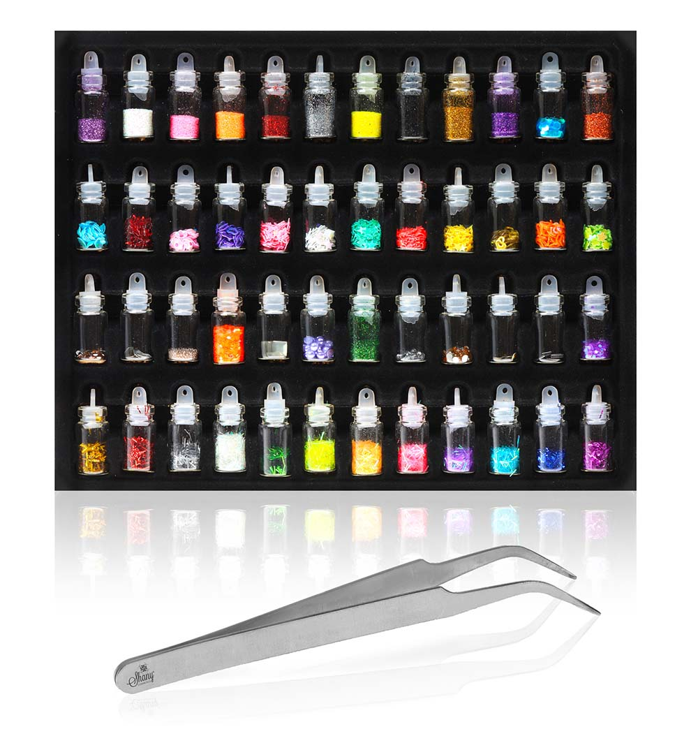 SHANY 3D Nail Art Decoration Mini Bottles - 48 Glass Bottles With Free Nail Art Tweezer