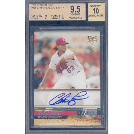 2008 stadium club #165 CHRIS PEREZ AU auto exch rookie BGS 9.5 10 (pop