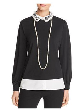 Faux-Pearl Embellished Layered Top