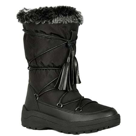 Alaska-01 Women Knee High Faux Fur Winter Snow Moon Boots Black](Faux Fur Boot Covers)
