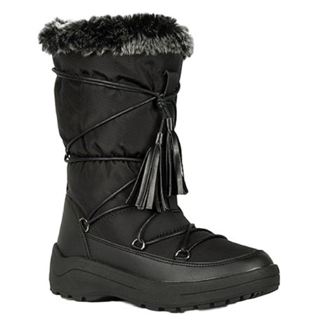 Alaska-01 Women Knee High Faux Fur Winter Snow Moon Boots Black](Sailor Moon Boot Covers)