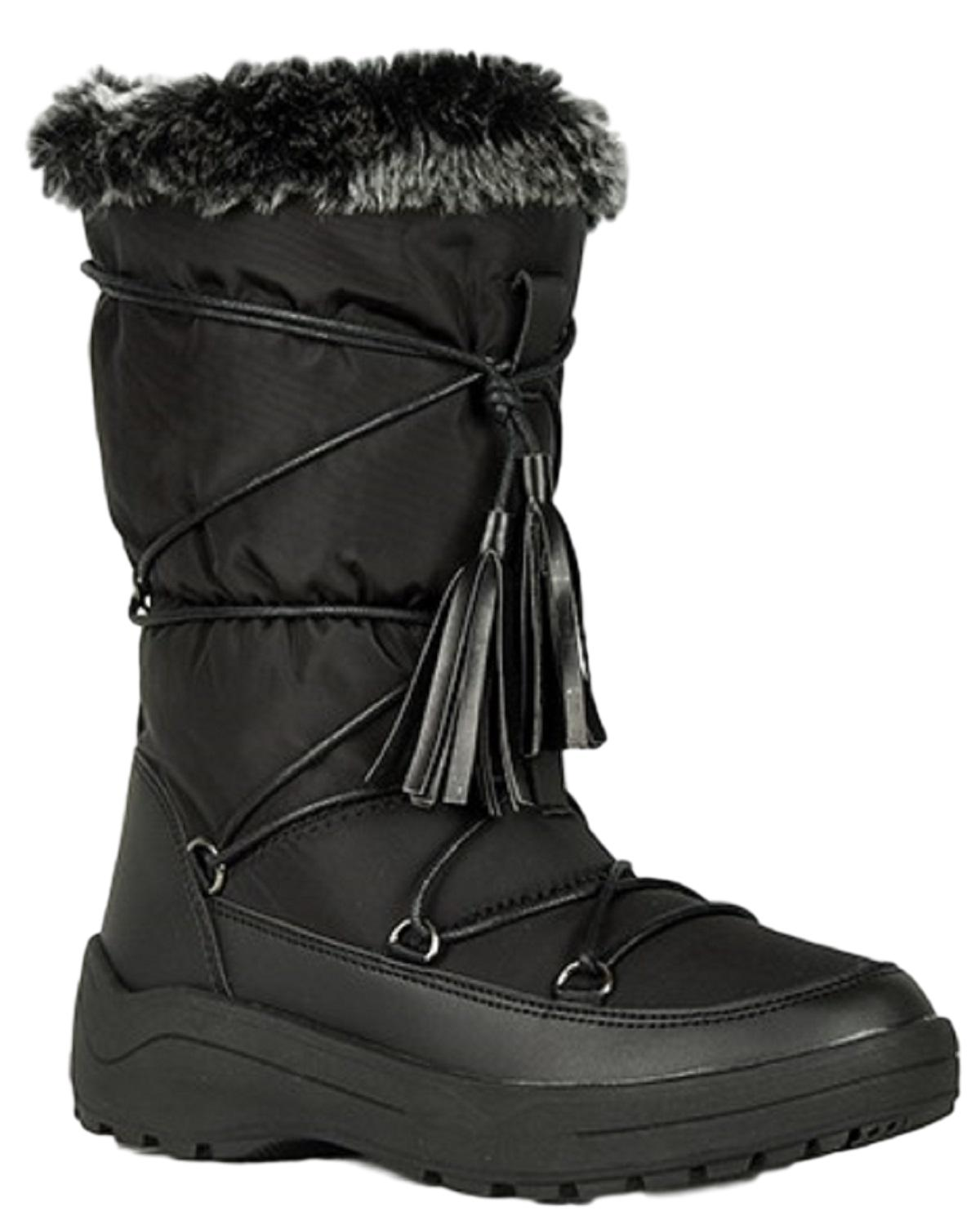 Alaska-01 Women Knee High Faux Fur Winter Snow Moon Boots Black
