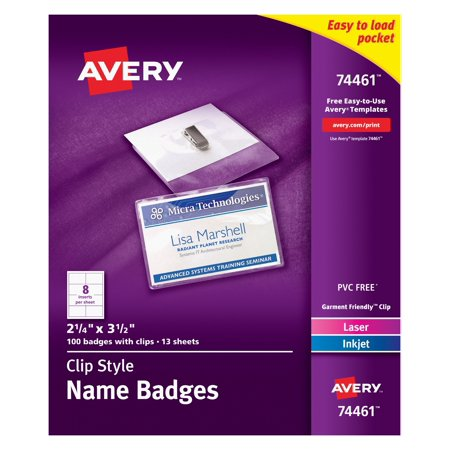 Avery Clip Name Badges, Print or Write, 2-1/4