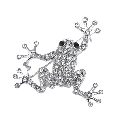 Silvery Tone Clear Crystal Colored Rhinestones Frog Toad Brooch Pin ()