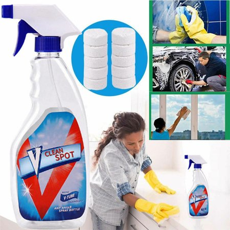 10 Pcs Multifunctional Effervescent Spray Cleaner Clean Spot Tools Effervescent Pill +Free Bottle for For Car, Kitchecn,