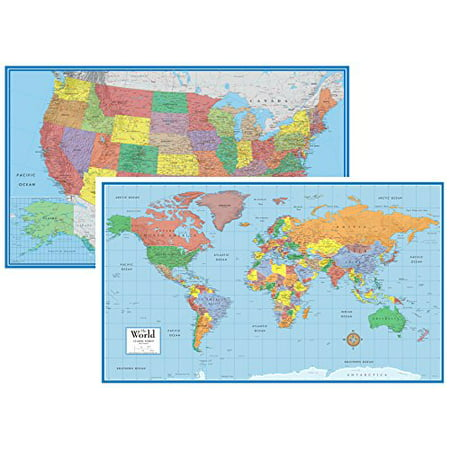 48X78 World And Usa Classic Elite Huge Two Wall Map Set   Laminated