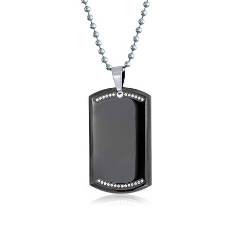 Black Dog Tag Pendant Necklace For Men CZ Edge Engravable High Polished Silver Tone Stainless Steel Bead Chain 24