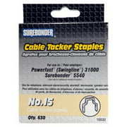 "Surebonder 15532 .500"" Flat Crown Cable Tacker Staple - 630 Count"
