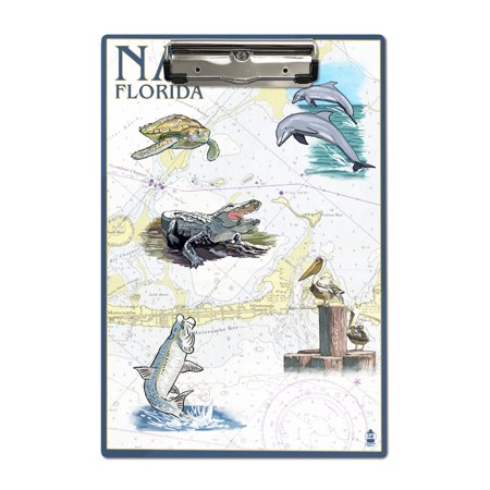 Naples, Florida - Nautical Chart - Lantern Press Artwork (Acrylic Clipboard) ()