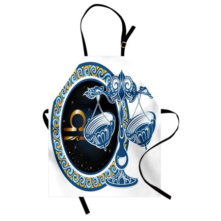 - Zodiac Apron Historical Astronomy Icon Sign Libra Pattern with Wheel and Scales Planetary Image, Unisex Kitchen Bib Apron with Adjustable Neck for Cooking Baking Gardening, Blue Gold, by Ambesonne
