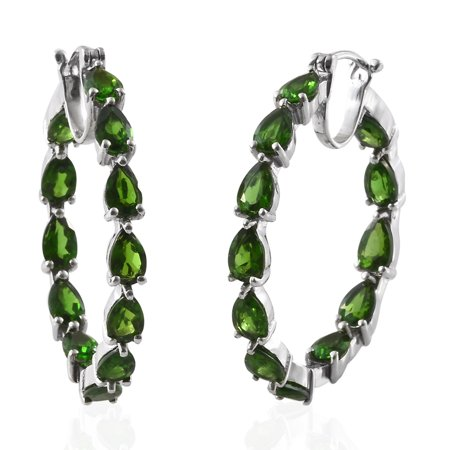 Silver Platinum Plated Pear Chrome Diopside Inside Out Hoops, Hoop Earrings for Women Cttw (Pear Platinum Earrings)
