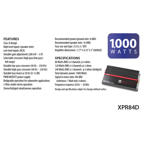 Dual electronics xpr84d 21 high performance power mosfet class d dual electronics xpr84d 21 high performance power mosfet class d car amplifier with 1000 watts of dynamic peak power walmart greentooth Image collections