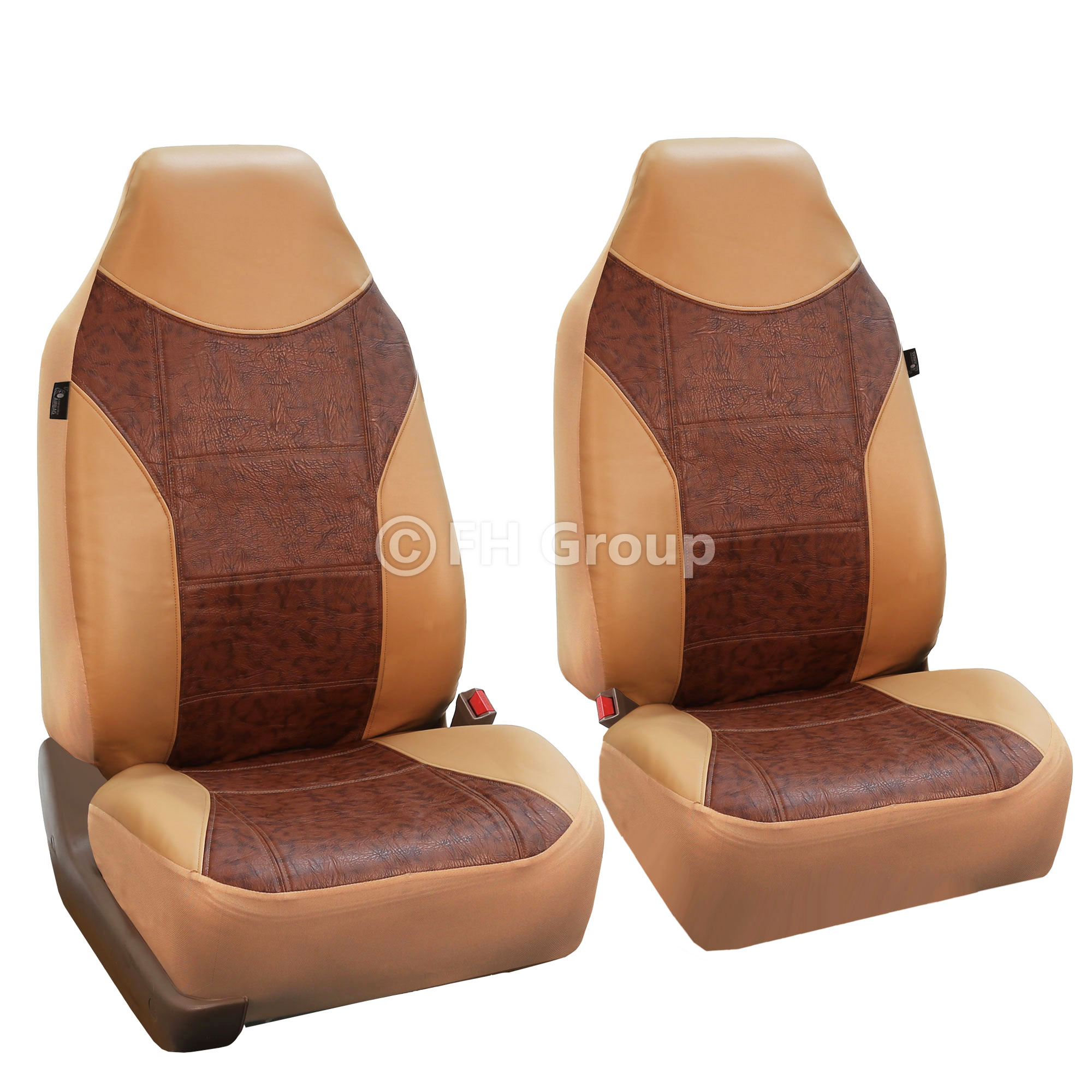 FH Group Highback Textured Leather Seat Covers for Sedan, SUV, Van, Truck, Two Highback Buckets, Tan
