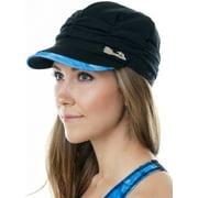 Aqua Design Womens Eclipse UPF 50+ Newsboy Cabbie Drape Knit Visor Cap Hat