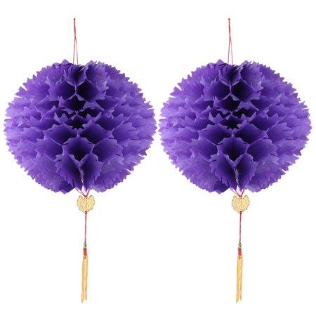 Party Plastic Handmade DIY Lantern String Hanging Lamp  Purple 2pcs