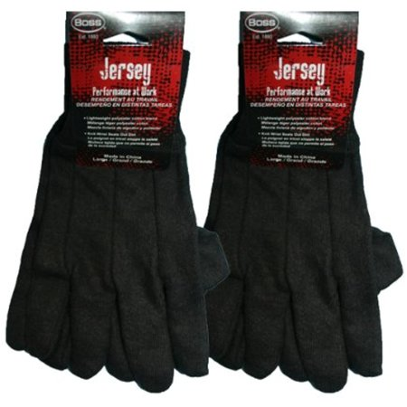 Boss Brown Large Jersey Work Gloves Cotton/Poly Blend (2 Pack) # 4020-2pk