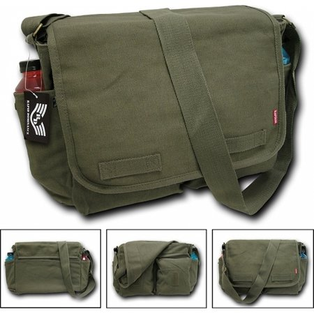 "RapDom Classic Military Messenger Bag [Olive Green - 19""W x 14.5""H x 7""D]"