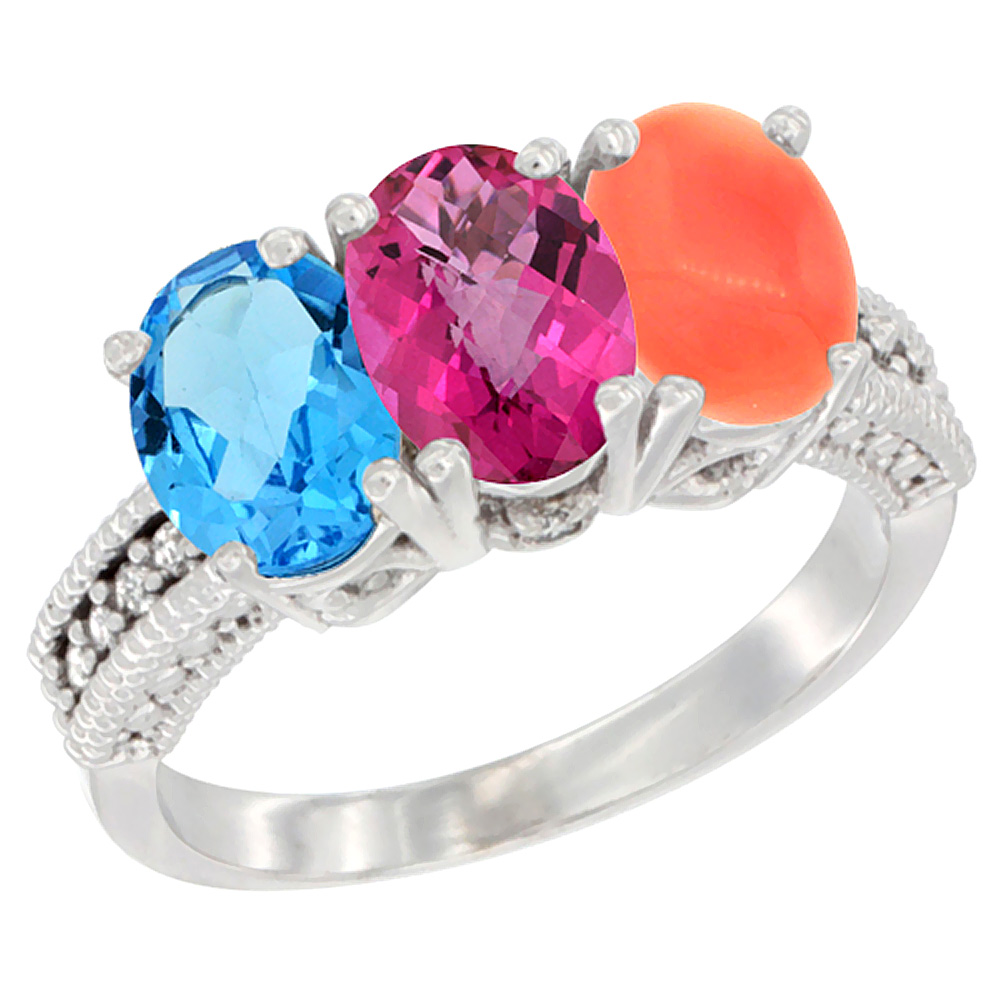14K White Gold Natural Swiss Blue Topaz, Pink Topaz & Coral Ring 3-Stone 7x5 mm Oval Diamond Accent, sizes 5 10 by WorldJewels