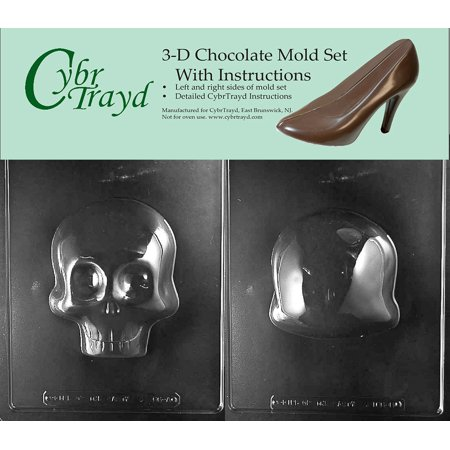 3D Two-Mold Set Large Skull Halloween Chocolate Candy Mold with Exclusive Cybrtrayd Copyrighted Molding - Halloween Skull Face Painting Instructions