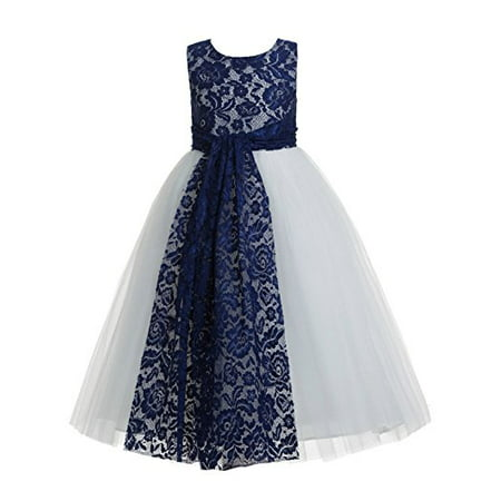 EkidsBridal Navy Blue Floral Lace Heart Cutout Flower Girl Dresses Formal Flower Girl Dress Pageant Dresses 172 - Navy Blue Girl Dresses
