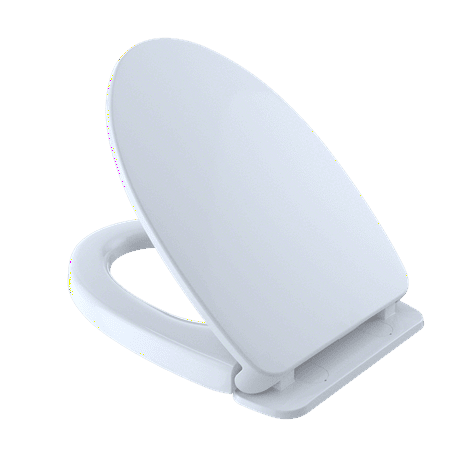 TOTO SoftClose Non Slamming, Slow Close Elongated Toilet Seat and Lid, Cotton White - SS124#01 ()
