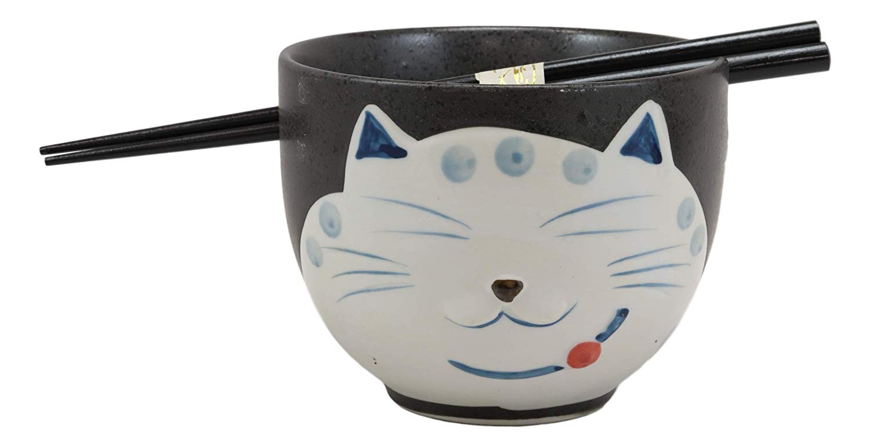 Ebros Whimsical Ceramic Black Lucky Meow Cat Ramen Noodle Bowl Chopsticks Set Walmart Com Walmart Com