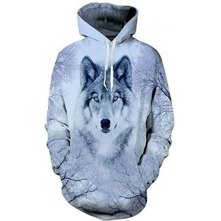 Diy Wolf Hoodie (Unisex Womens Mens Hoodie 3D Wolf Animal Sweatshirt Coat Jacket Pullover)