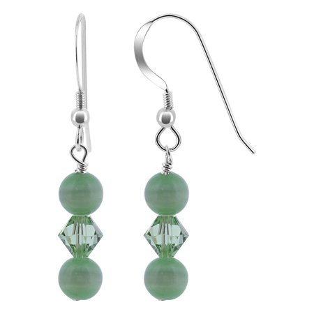 Gem Avenue 925 Sterling Silver Green Cats Eye Beads Drop Earrings
