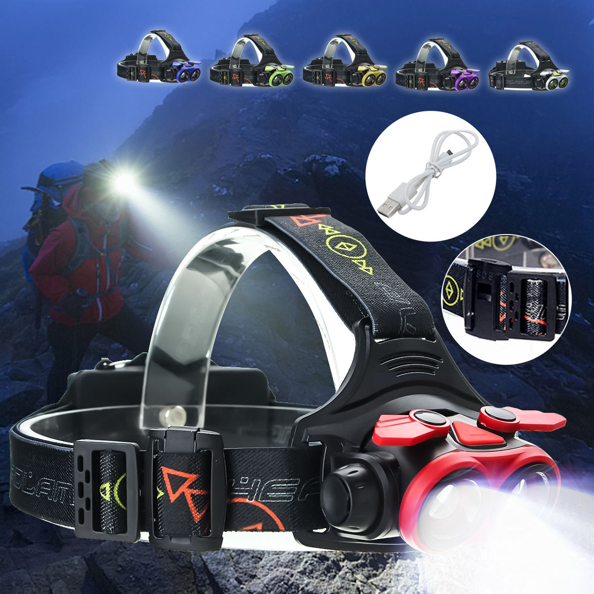 5000 Lumens T6 LED Telescopic Zoom Headlamp Headlight Flashlight Torch Waterproof 4 Modes + USB Cable For Camping Fishing Hiking