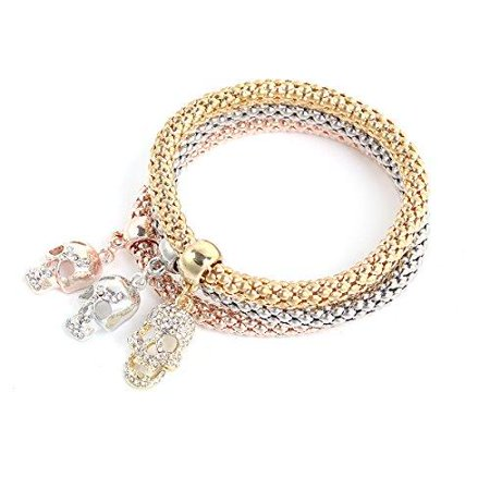 Skull Chain Bracelet - Sexy Sparkles Stretch Skull Bracelets  3PCS Gold/Silver/Rose Gold Plated Popcorn Chain with Crystal Charms Multilayer Bracelets for Women