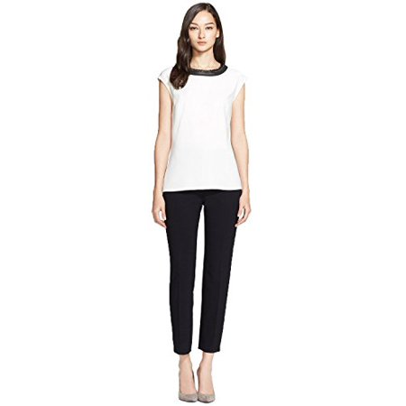 John Collection Leather (St. John Collection Fringe & Leather Trim Luxe Crepe Top (Cream/Caviar,)