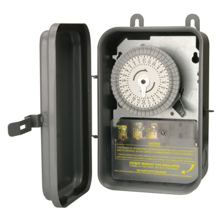 50a Timer Box (Woods 59101R Outdoor 120-Volt 40-Amp 24-Hour SPST Mechanical Time Switch with Metal Box)