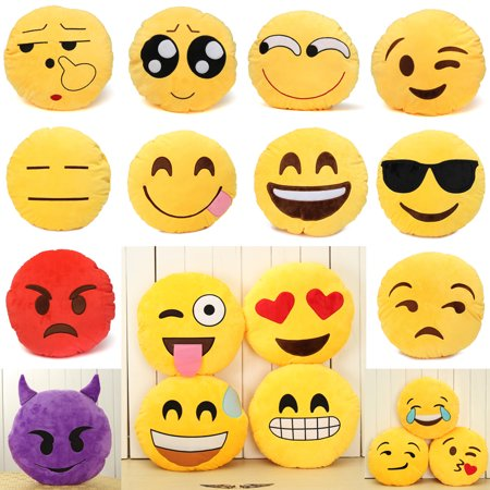 "12.5"" (32 cm) Large Lovely Cute Yellow Round Emoji Emoticon Soft Cushion Pillow Stuffed Plush Doll Full Collection"