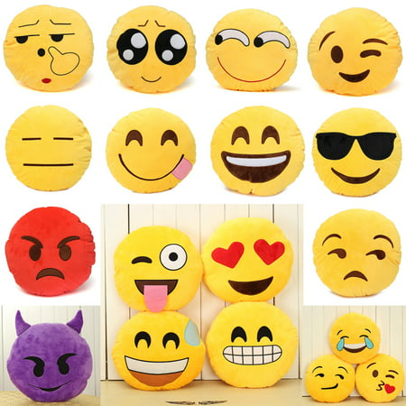 Lovely Cute Yellow Round Emoji Emoticon Soft Cushion Pillow Stuffed Plush Doll