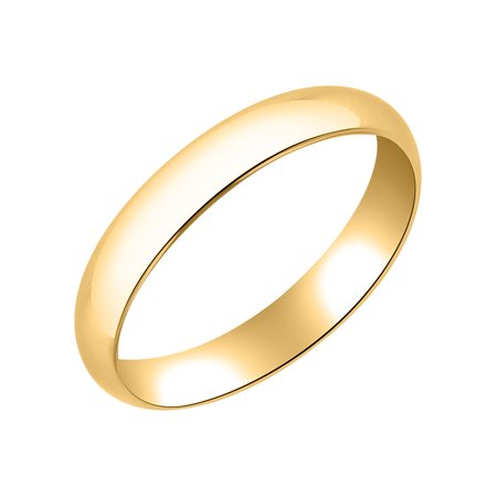 Traditional 4MM 10K Yellow Gold Hollow Band – Wedding Ring for Men & Women 4mm Traditional Wedding Band Ring