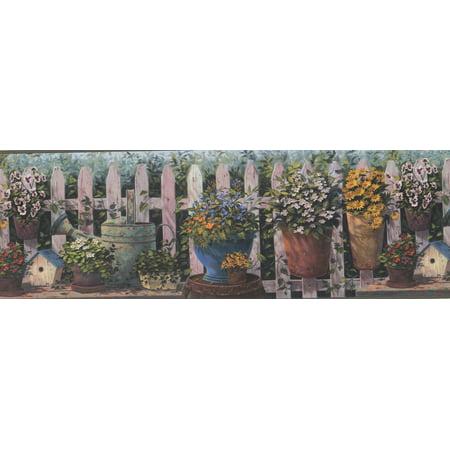 Blue Orange White Yellow Flowers in Pots Fenced Yard Country Wallpaper Border Farmhouse Design, Roll 15' x 8.5'' - image 3 de 3