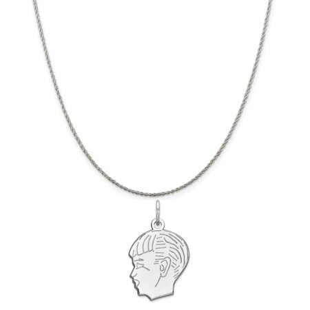 Rembrandt Engravable Boy Charm (Sterling Silver Engravable Boy Disc Charm on a Sterling Silver Rope Chain Necklace, 16