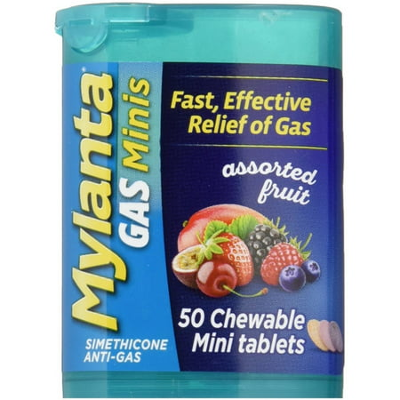 2 Pack - Mylanta Gas Chewable Mini Tablets, Assorted Fruit 50