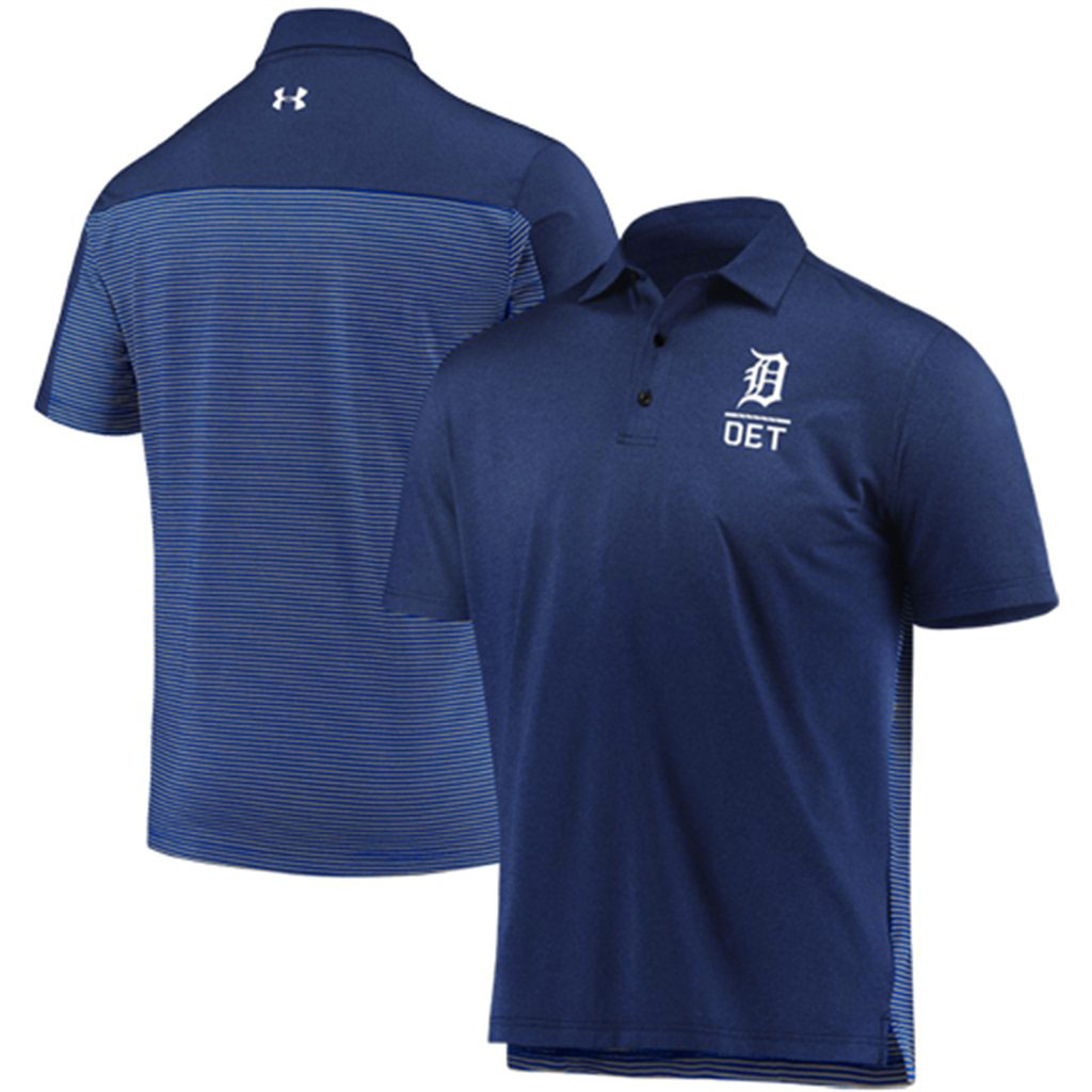 Detroit Tigers Under Armour Novelty Performance Polo - Navy/Gray