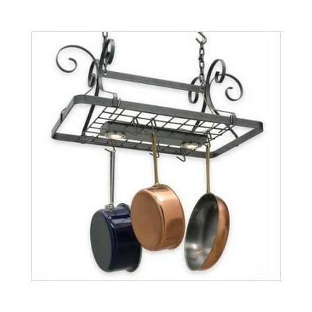 enclume decor grid rectangle lighted hanging pot rack. Black Bedroom Furniture Sets. Home Design Ideas
