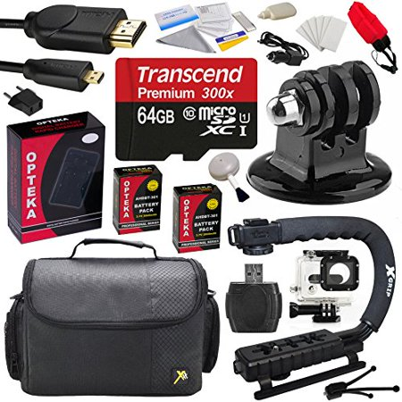 Pro Kit for GoPro Hero3 with 64GB MicroSDHC Memory Card, x2 AHDBT-301, Charger, HDMI Cable, Adapter, Action Stabilizing Grip, Case, Floating Strap, Underwater Housing, Cleaning Kit with Bonus Tripod