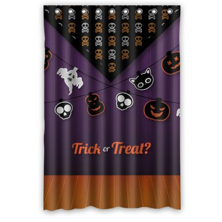 ARTJIA Happy Halloween - Cool Ghost And Pumpkins In Lines Trick or Treat Shower Curtain Waterproof Polyester Fabric Bathroom Curtain 48x72 inch