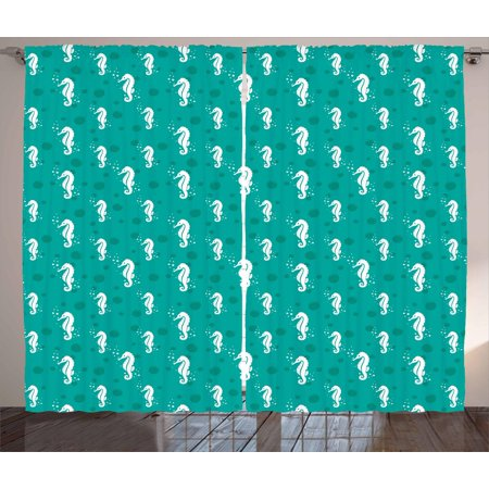 Seahorse Curtains 2 Panels Set, Ocean Themed Figures Marine Aquatic Bubbles Sea Life Coastal Pattern, Window Drapes for Living Room Bedroom, 108W X 63L Inches, Sea Green Teal and White, by Ambesonne