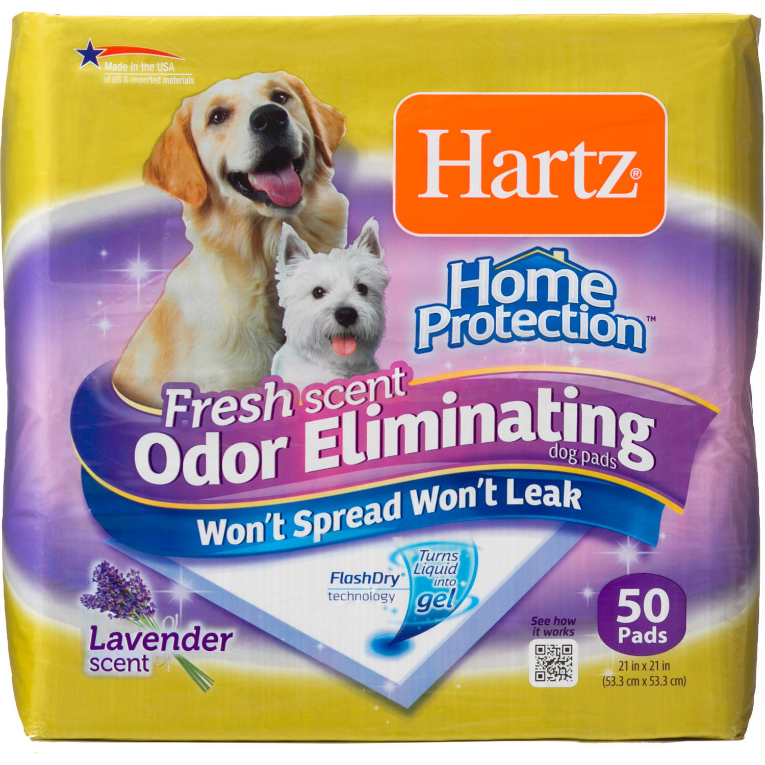 Hartz Home Protection Odor-Eliminating Dog Pads, 50ct