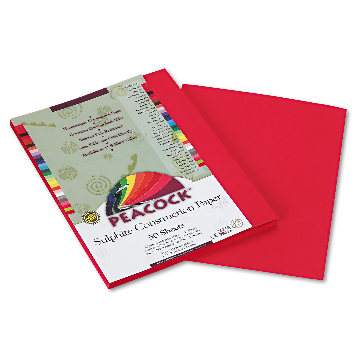 Pacon Tru-Ray Construction Paper, 76 lbs., 9 x 12, Scarlet, 50 Sheets/Pack