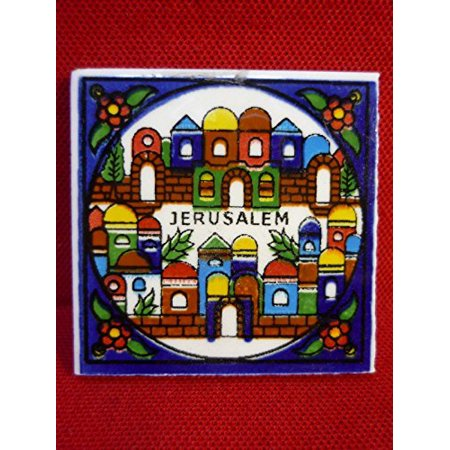 Armenian Handmade Hebrew Shalom Peace Ceramic Magnet 2 From Israel Holy Land by, Very Beautiful Colored Jerusalem Armenian Ceramic Fridge Magnet,Original Armenian.., By Nazareth Market Store