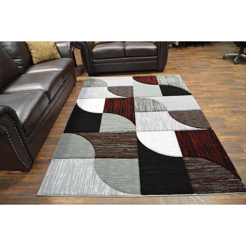 Ivy Bronx Mccampbell 3D Modern Contemporary Burgundy Area Rug