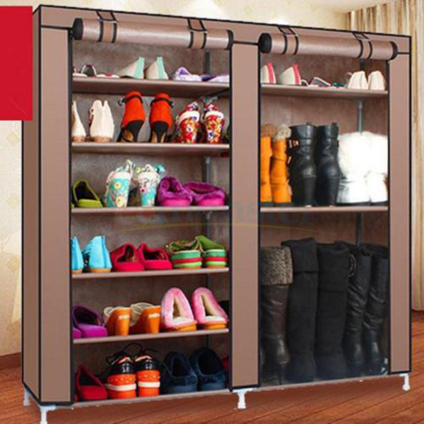 Double Row Shoe Boot Closet Rack Shelf Storage Organizer Cabinet Portable 9  Tiers