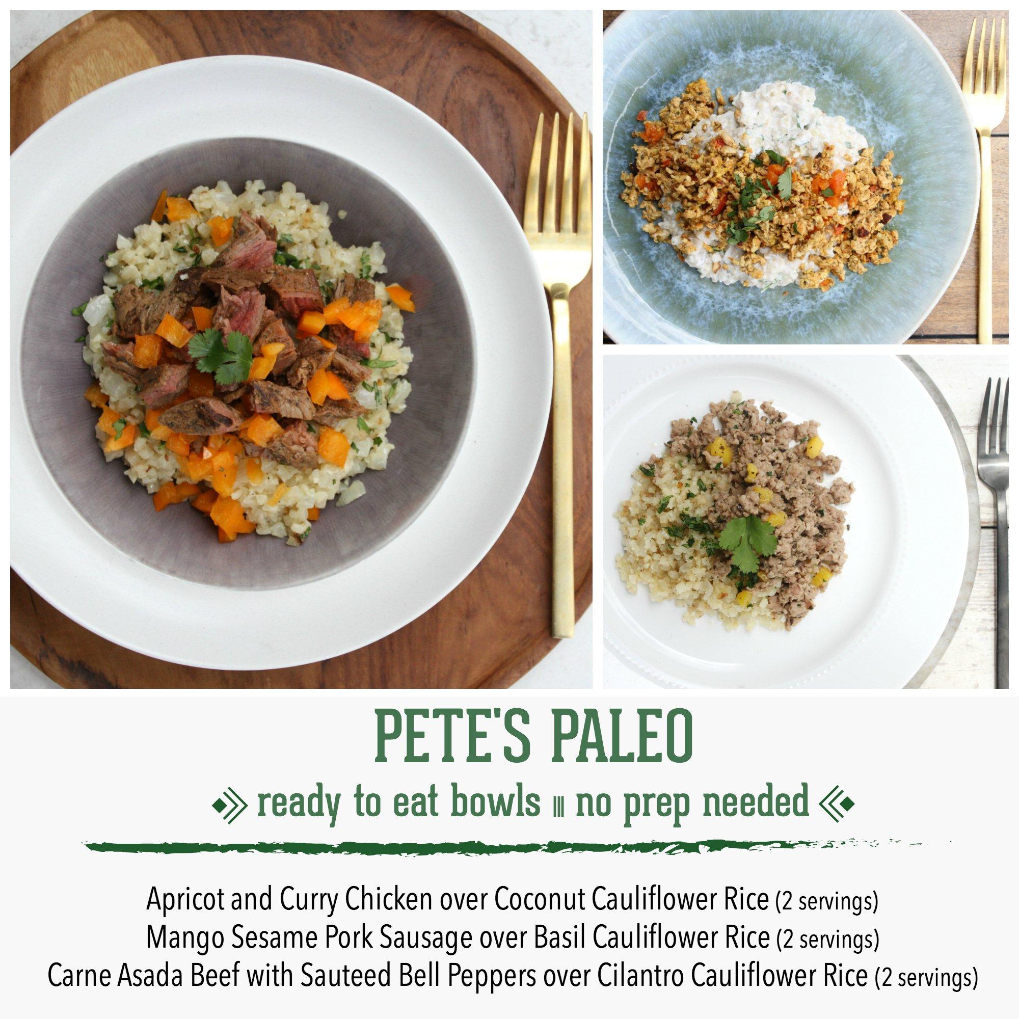 Pete's Paleo No Prep Organic Cauliflower Rice Bowls, Bundle of 6 (2 Servings of Each Bowl)
