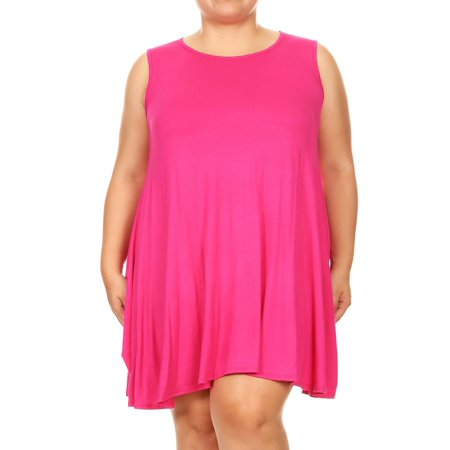 MOA COLLECTION Women's Plus Size Solid Casual Comfy Lightweight Sleeveless Pleat Tunic Top Mini Dress](Size 8 Dress Weight)